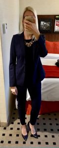 Outfit post: navy blazer, black sweater, navy ankle pants, navy pumps