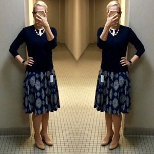 Outfit post: navy cardigan, mosaic full skirt, nude wedges