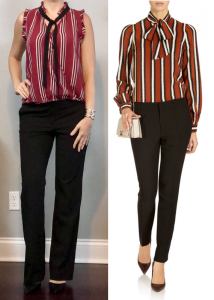 outfit post: maroon tie neck top, black bootcut pants, black pointed toe pumps