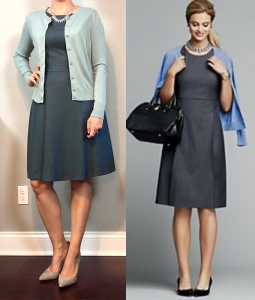 outfit post: cap sleeved a-line dress, green cardigan, grey pointy toe pumps