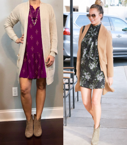 outfit post: pink pintuck swing dress, beige cardigan, ankle boots