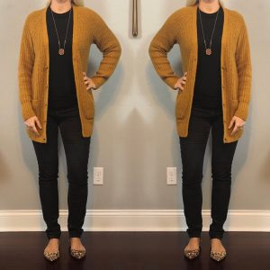 Outfit post: mustard grandpa cardigan, black sweater, grey corduroys, leopard pointed toe flats