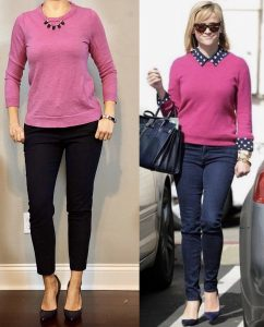 outfit post: pink tippi sweater, navy ankle pants, navy pointed toe pumps & Fitness Friday week 1!