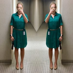 outfit post: green shirt dress, gold belt, nude wedges