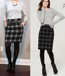 outfit post: grey sweater, plaid skirt, tights, ankle boots