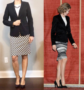 outfit post: navy blazer, white cami, polka-dot pencil skirt, navy pumps