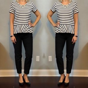 outfit post: striped peplum top, black ankle pants, black patent wedges