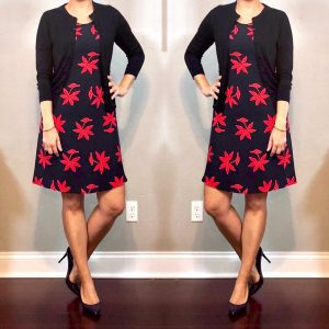 outfit posts: navy & red floral dress, navy cardigan