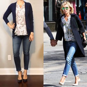 outfit post: floral peplum top, navy cardigan, ankle jeans, navy pumps