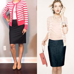 outfit post: pink striped cardigan, denim pencil skirt, nude wedges