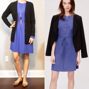 outfit posts: blue henley dress, black cardigan, leopard pointy toe flats