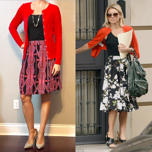 outfit post: red cardigan, black camisole, red & pink print skirt, grey pumps