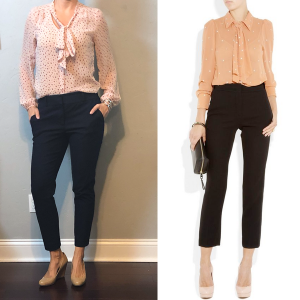 outfit post: pink tie neck blouse, navy ankle pants, nude wedges