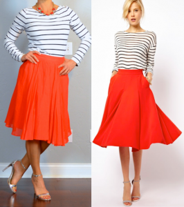 outfit post: striped top, red midi skirt, silver heels