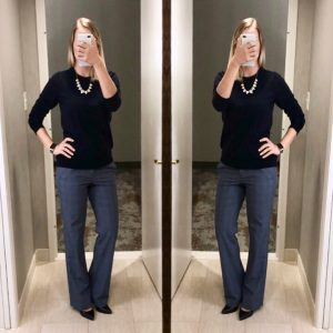outfit post: navy sweater, blue plaid pants, navy pumps