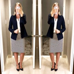 outfit post: navy blazer, white blouse, polka-dot pencil skirt, navy pumps