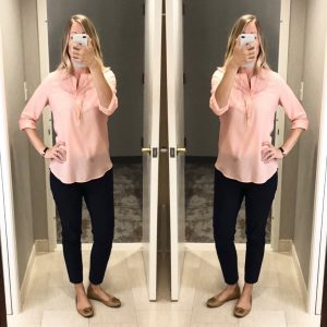 outfit posts: coral/peach crepe blouse, navy ankle pants, brown flats