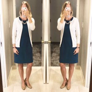 outfit post: blue sheath dress, white cardigan, nude wedges