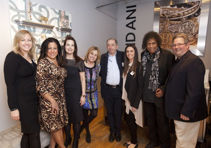 Pictured (from left): Janice O'Leary, Denise Hajjar, Paula Daher, Dawn Carroll, Ivo Cubi, Carlotta Cubi, Jon Butcher, and Dave Connor. Photograph courtesy of Russ Mezikofsky.