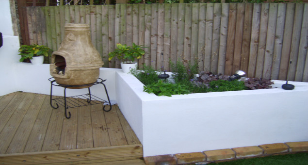 Rendered raised beds give the contemporary feel our clients were looking for.