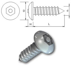 TR Security Self Tapping Screws Type 7 Button Head