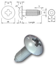 S-Thread thread forming screw - Phillips Truss Head