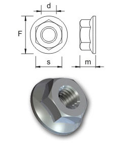 Metric flange nuts - Serrated
