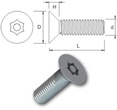 TR Security Machine Screws Type 4 Countersunk Head
