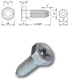 S-Thread thread forming screw - Phillips Hexagon Head