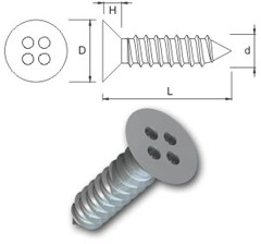 TR Security Self Tapping Screws Type 9 – Countersunk Head