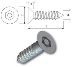 TR Security Self Tapping Screws Type 7 Countersunk Head