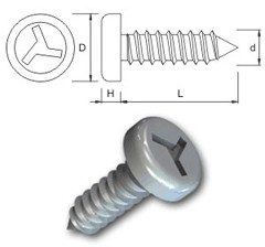 TR Secuirty Self Tapping Screws Type 3 Pan Head
