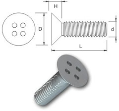 TR Security Machine Screws Type 9 Countersunk Head