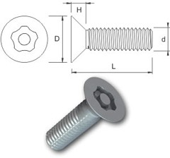 TR Security Machine Screws Type 5 Countersunk Head