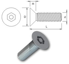 TR Security Machine Screws Type 7 Countersunk Head