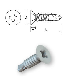 Ribbed Countersunk Head Self-Drilling Screws – Cross Recess (H)