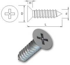 TR Security Self Tapping Screws Type 8 Countersunk Head
