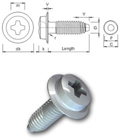 S-Thread thread forming screw - Phillips Pan-Washer Head
