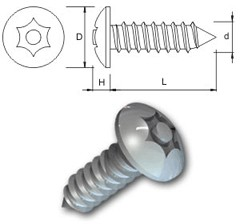 TR Security Self Tapping Screws Type 4 Button Head