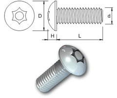 TR Security Machine Screws Type 4 Button Head