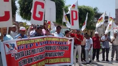 Lambayeque: trabajadores afiliados a la CGTP realizan plantón
