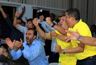 YouTube: Rafael Correa saltó y gritó con los goles ecuatorianos