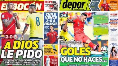 Perú vs. Colombia: así informó la prensa peruana tras la derrota