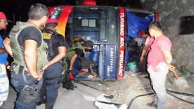 Bagua: volcadura de bus interprovincial deja dos fallecidos y dos heridos