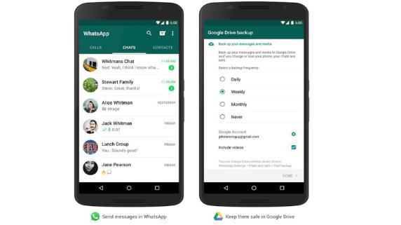 Los mensajes de Whatsapp se podrán guardar en Google Drive