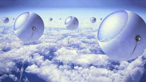 Paneles solares flotando por encima de las nubes.