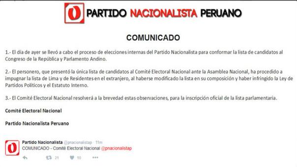 Comunicado del Partido Nacionalista