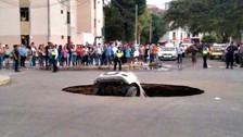 Caída de auto a forado deja tres heridos en Trujillo