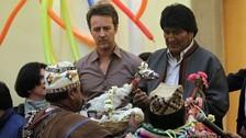 Edward Norton fue recibido por Evo Morales en Bolivia