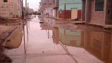 Reportan aniego de más de cinco cuadras en Ferreñafe